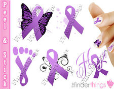 Relay for Life Purple Ribbon Support Nail Art Decal Sticker Set RIB905