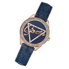 Guess Uhr Blue Print rosé Quarz Leder Strass modische Damen-Armbanduhr W0456L6