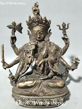 China Bronze 8 Arms Kwan-yin Quan Guan Yin Goddess Bodhisattva Seat Lotus Statue