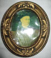 """Vintage Oval Gold Decorative Chalk or Plaster 6.75"""" x 6"""" Frame"""