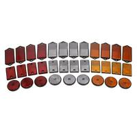 Red Amber White Reflector Packs for Trailers Fence / Gate Posts Round Large
