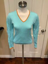 Burberry Golf Light Blue V-Neck Sweater, Size Xs