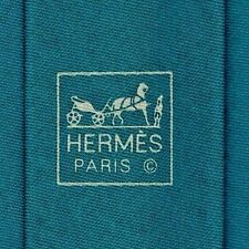 Hip New Tag Box Skinny Hermes Tie Cotton/Linen Turquoise Contemporary Style Mint