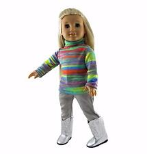 Doll Clothes Gray Jeans and Sweater Knit Shirt fit 18 inch American Girl