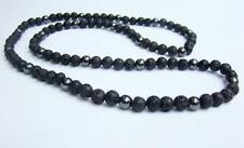 Men's Necklace Lava Hematite Natural Round Beads 32inch long