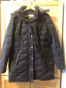 Fat Face Phantom Black Down & Feather Jacket/Coat Fur Hood Puffer - Size 16