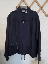 CHICO'S DELAVE LINEN ZIP UP JACKET NWT DARK INDIGO CHICO'S SIZE 2 M/L