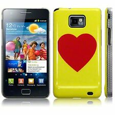 For Samsung Galaxy S2 i9100 Red Heart Hard Back Case Cover - Yellow