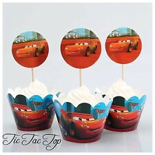 12x Disney Cars Cupcake Wrappers + Toppers. Party Supplies Lolly Loot Bag