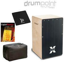 Schlagwerk Cajon X-One CP-160 Hard Coal Stripes & Tasche & Lehrbuch & Sitzpad