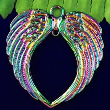 Pendant Bead 67x65x2mm L33359 Carved Rainbow Tibetan silver Wing
