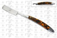 Brown & Black Marble Handle Shaving Straight Edge Razor Folding Razors