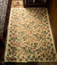 """Crewel Satin Chain Stitch Tapestry Rug ~Vines, Foliage, Green Leaves 64"""" x 46"""""""