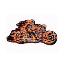 Biker Chopper Motorrad Fammen Skelett Hell Rider Skull Aufbügler Aufnäher Patch