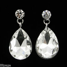 Non-Pierced Sparkly Crystal Tear Drop Dangle Screw-Back Clip On Earrings