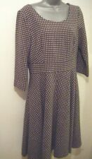Boden Grey Cream Spot Dress 12L Skater Wool Tweed Lined Vintage '50's Style VGC