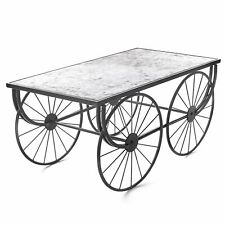 Galvanized Metal Wagon Wheel Coffee Table - Vintage Home Decoration