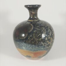 """vtg HANDMADE Signed 4.5"""" Small Copper & Gray Metallic Glazed Pottery Vase"""