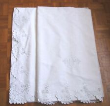 Superbe grand DRAP ancien brodé main - monograme UP - 3,15 x 2,25 mètres