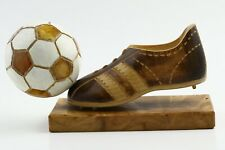 VINTAGE ANTIQUE Football Trophy Boot & Ball Wood Genuine BALTIC AMBER 1970's