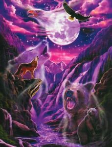 """Glow In The Dark """"SPIRITS"""" Wolf Bear Moon 500 Pieces BOXLESS Jigsaw Puzzle NEW"""