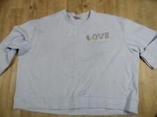 H&M + schönes warmes Sweatshirt hellblau  Strass LOVE Gr. 4XL TOP HMI118