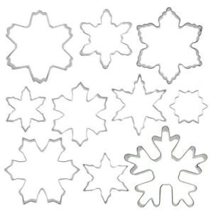 10x Stainless Steel Clay Cutter Snowflake Pottery Polymer Mold Baking Tool Craft