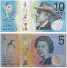 AUSTRALIA NEW $10 2017 & $5 2016 General Prefix Polymer Set x 2 UNC Banknotes ,