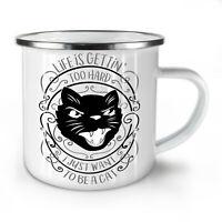 Life Hard Be Cat Funny NEW Enamel Tea Mug 10 oz | Wellcoda
