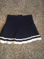 GTM Sportswear Navy Blue with White Stripe Pleated Cheerleader Mini Skirt M