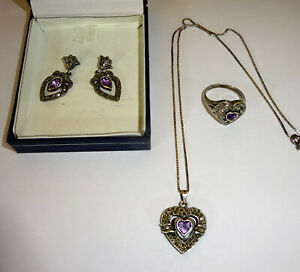 Sterling Silver Heart Shaped Jewelry Set(ring, charm, earings) Amethyst/Marcasit