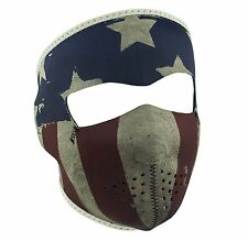 Faded Distressed USA America Flag Patriot Neoprene Full Face Mask Biker Black