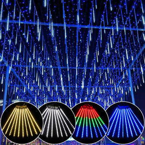 40 Tubes LED Meteor Shower Lights Falling Rain Drop Christmas Party Outdoor UK