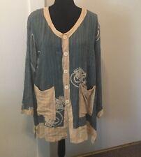 Woman's Large Kusnadi Jacket Tunic Kimono Top Rayon Boho Art To Wear