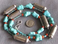 "20"" Vintage Natural Turquoise & Coral Bead Necklace Chinese S/S Prayer Boxes"