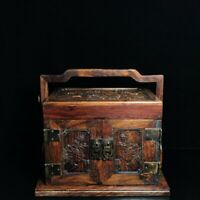 """11"""" Chinese old antique huanghuali wood handcarved flowers Jewelry box"""