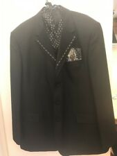 """Professional Black 3 Piece Stage Suit 52"""" Chest Trousers Size 46"""