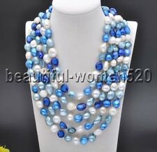 Z7692 15mm Baroque White Blue Freshwater Culture PEARL Necklace 100inch