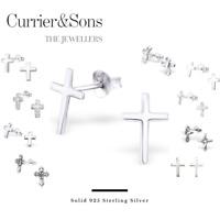 925 Sterling Silver Cross Design Stud Earrings