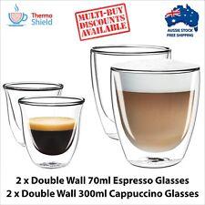 2 x Espresso + 2 x Cappuccino Double Wall Thermo Glasses Glass Cups Coffee Set