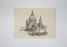Drawing, ink and pencil, Berlin cathedral on Museumsinsel at Friedrichsbrücke