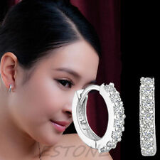 New Silver Plated XS Tiny Huggie Hoop Cubic Zirconia 9mm Baby Girls Earrings