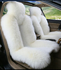 1pc White Real Australian Sheep Skin Car Long Wool Front Seat  Fits Most Cars