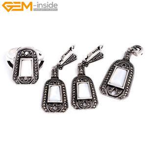 Retro Gemstone Stones Rivets Ring Earrings Pendant Sets Fashion Jewelry Gift