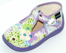SALOMES CHAUSSURES BEBE FILLE 22 toile blanc mauve pois multicolores ASTER NEUF
