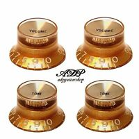 4 Boutons dores inchSize Gold Gibson  Style TopHat Knobs V+T Gold Reflector Cap