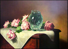 William Martin Pink Rose Original Oil on stretched canvas Hand Signed in back