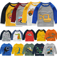 Toddler Kids Baby Boy Long Sleeve Cartoon Printed Shirt Tops Tee Casual Clothes