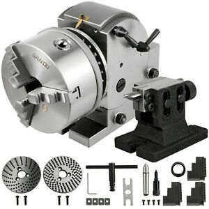 """Indexing Dividing Head BS-1 6"""" 3 Jaw Chuck & Tailstock for CNC Milling Machine"""