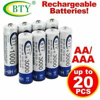 8-20pcs AA/AAA 1.2V 1000mAh 3000mAh Ni-MH BTY Cell Rechargeable Battery